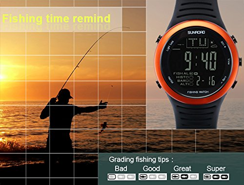 SUNROAD Fishing Watch FR720 Weather Forecast Fishing Place Record Barometer Altimeter Thermometer Backlight Digital Watch by YARUIFANSEN (Image #3)