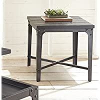 End Table in Rustic Distressed Tobacco Finish