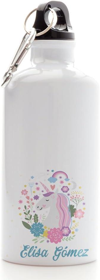 Regalo Original Cantimplora Infantil de Aluminio Personalizada con Nombre y Unicornio para la Vuelta al Cole 500ml