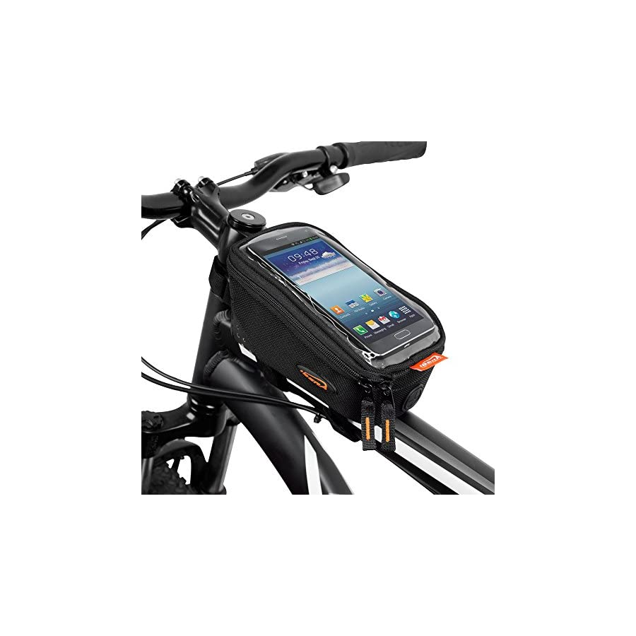 """Ibera Bicycle Top Tube Phone Bag for 5"""" 6"""" Screen Size, Bike Frame Strap Attachment Mount"""