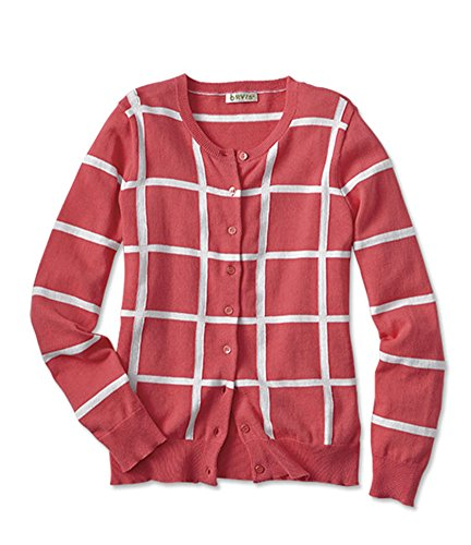 Orvis Women's Windowpane-check Cotton Cardigan, Grapefruit, Medium (Orvis Cotton Cardigan)