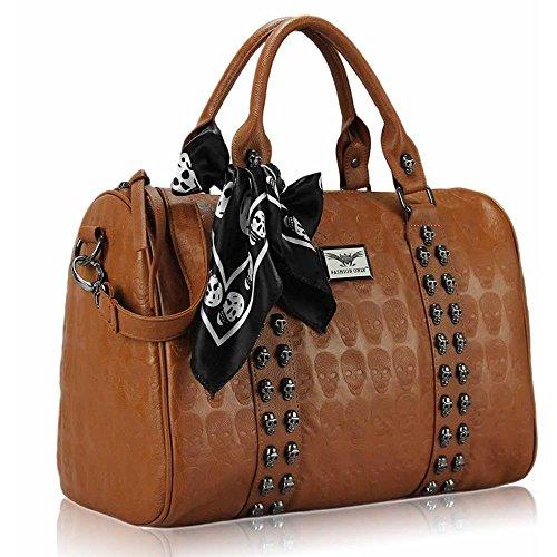 Asa De hombro Trendstar En La parte superior De La moda De las mujeres bolsos De mano, piel sintética, ORT.K7051-Petate Célébrité Style A C - Brown