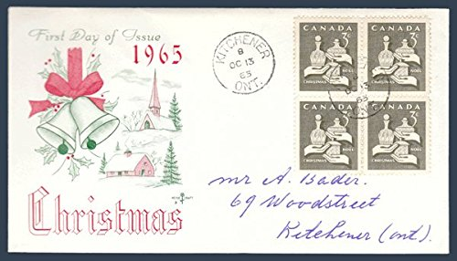 Canada First Day Cover Postage Stamp # 443 - Christmas 1965 - Gifts from the Wise Men - Rose Craft - Block of Four w/ Cachet Cachet Block