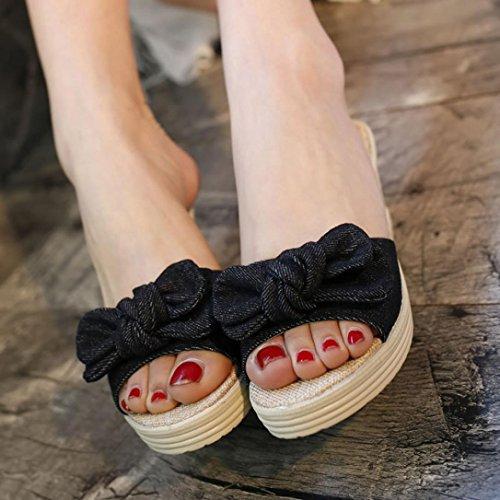 Hatop Pantoufle, Femmes Dames Été Bow Plate-forme Sandales Imperméables Wedge Pantoufles Noir