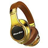 Bluedio U (UFO) PPS 8 Drivers High-End Bluetooth headphones Revolution/3D Sound Effect/Aluminum alloy build/Hi-Fi Rank wireless&wired Over-Ear headsets with carrying hard case Gift-package (Gold)