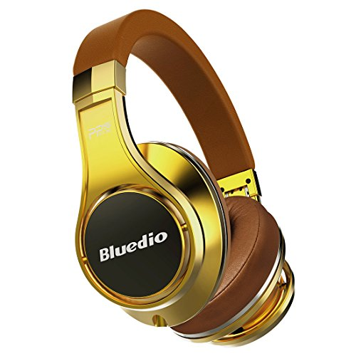 Aluminum Headphone - Bluedio U (UFO) PPS 8 Drivers High-End Bluetooth headphones Revolution/3D Sound Effect/Aluminum alloy build/Hi-Fi Rank wireless&wired Over-Ear headsets with carrying hard case Gift-package (Gold)