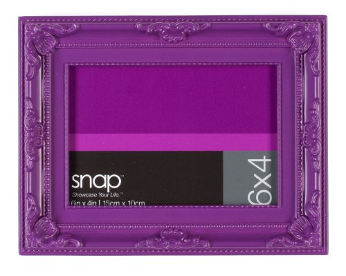 Snap 4 by 6-Inch Ornate Tabletop Frame, Bright - Frame Purple