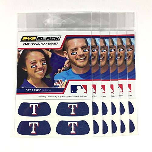 Texas Rangers Tailgate - (24 Strips) Eye Black - Texas Rangers Blue MLB Eye Black Anti Glare Strips, Great for Fans & Athletes on Game Day