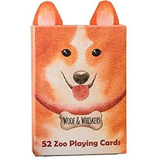 Zoo52 Woof & Whiskers Playing Cards – Beautiful Cat & Dog Deck of Cards, Hand Illustrated Water Color Poker Cards with Custom Faces. Unique Box with Ears and Intricate Detail for Cool & Perfect Gifts