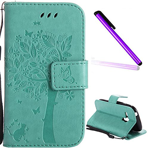 Samsung Galaxy S3 Mini Case Cover EMAXELER Diamond Embossed Stylish Kickstand Case Credit Cards Slot Cash Pockets PU Leather Flip Wallet Case For Samsung S3 Mini Wish Tree Green (Galaxy S3 Cases Wallet)