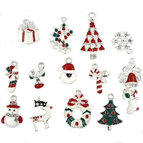 Christmas Pendants Charm for DIY Necklace Bracelet Clothes Sewing Bags Decoration Scrap Booking Supply 14pcs -