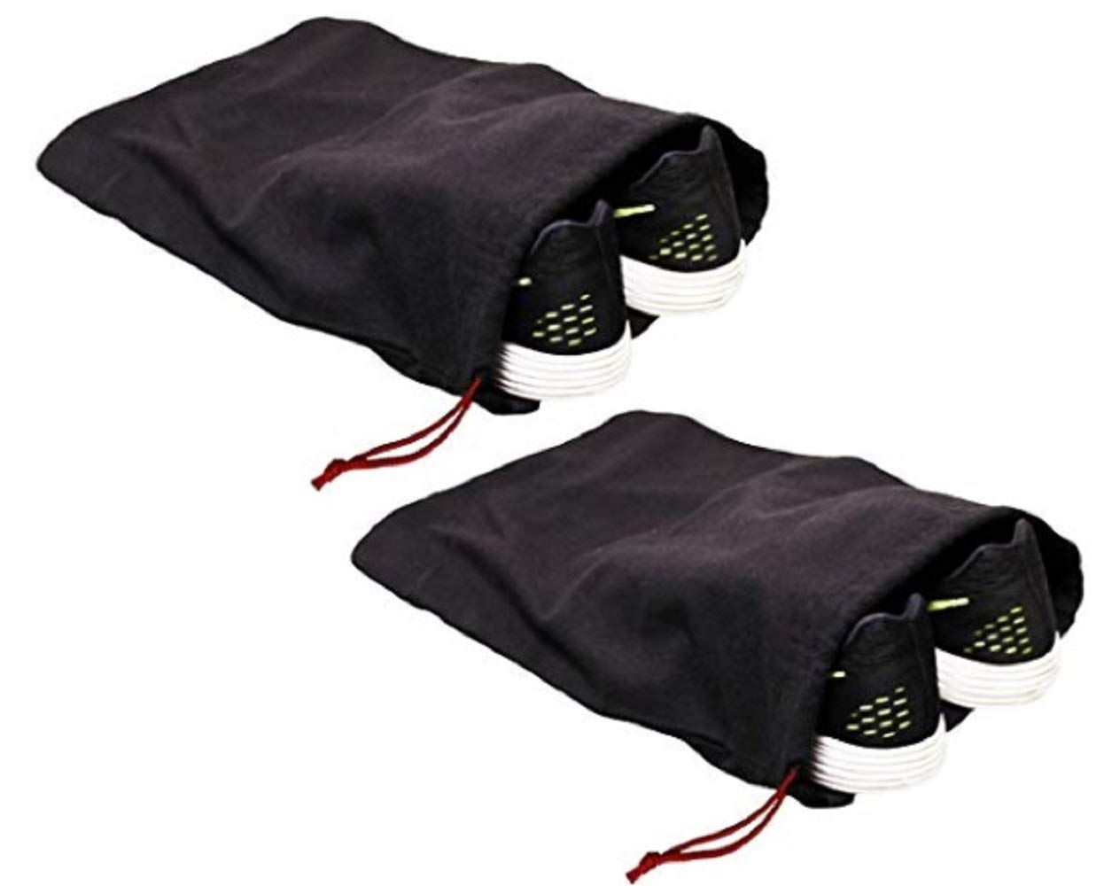 Earthwise 100% Cotton Shoe Storage Bags For Men/Women with Drawstring in Black. Made in the USA. Great for Travel. Each Black bag holds one pair of shoes. 17 inches X 12 inches (2 Pack) by Earthwise