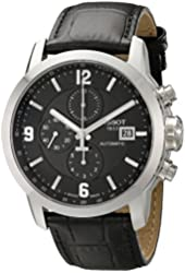 Tissot Men's T055.427.16.057.00 'PRC 200' Black Dial Black Leather Strap Chronograph Swiss Automatic Watch
