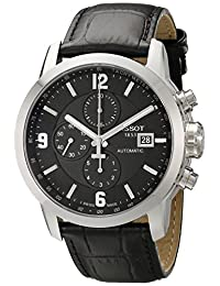 Tissot Men's T0554271605700 PRC 200 Stainless Steel Automatic Watch with Black Leather Band