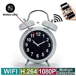 Wireless HD 1080P Spy Camera, WiFi Hidden Camera Alarm Clock/Motion Detection/Loop Recording/WiFi Remote View for Indoor Home Surveillance Nanny Spy Cameras