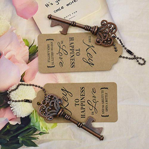 DerBlue 60 PCS Key Bottle Openers,Vintage Skeleton Key Bottle Opener, Wedding Favors Key Bottle Opener Rustic Decoration with Escort Tag Card by DerBlue (Image #1)