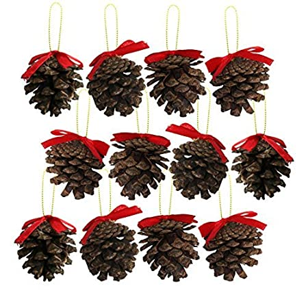 pack of 12 real genuine pine cone christmas tree pendant decorations