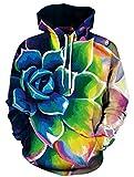 NAYINLAN Unisex Realistic 3D Digital Printed Hoodies Pullovers Hooded Sweatshirts