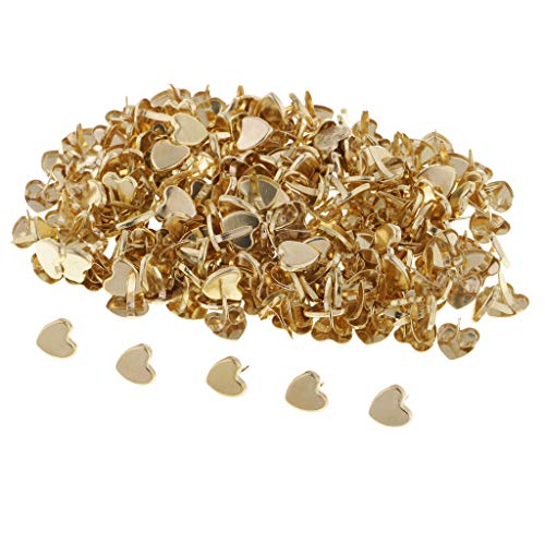 - SM SunniMix 200 Pcs Golden Tone Mini Heart Shaped Brads, Metal Iron Brads Paper Fasteners for Scrapbooking Craft Embellishments