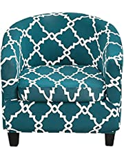Tub Chair Slipcovers 2 Piece Stretch Printed Club Chair Cover with Cushion Cover Soft Spandex Round Barrel Chair Slipcovers Couch Protector for Bar Counter Living Room