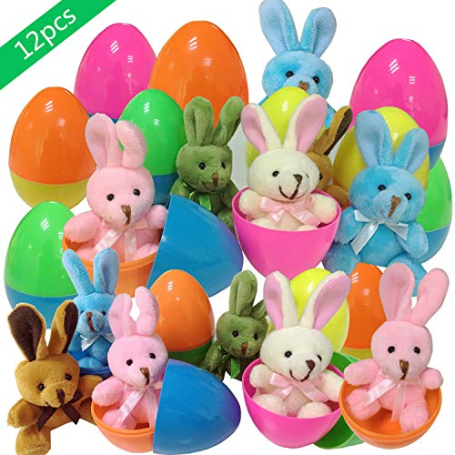 KAZOKU Plush Bunny Filled Colorful Easter Eggs,12 PCs Filled Easter Eggs with 3 Plush Bunny,Easter Eggs Toys Set for Party Favors, Easter Egg Fillers, Easter Basket Stuffers