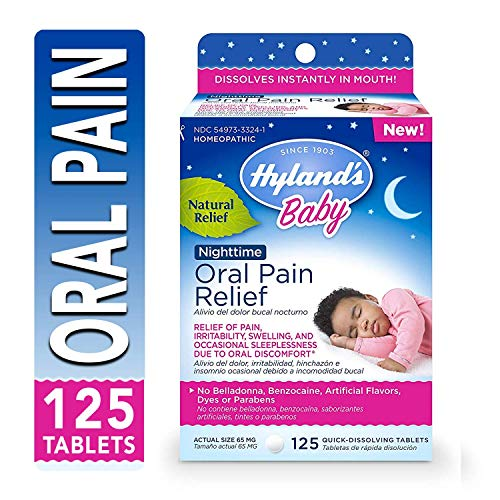 - Hyland's Baby Nighttime Oral Pain Relief Tablets, Soothing Natural Relief of Oral Discomfort, Irritability, and Swelling 125 Count
