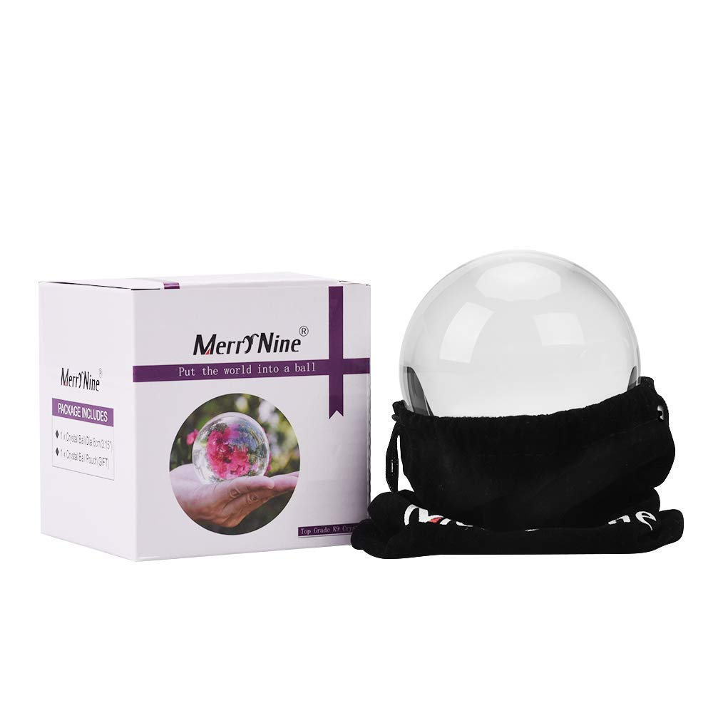 MerryNine Professional Photography Crystal Ball, K9 Crystal Glass Ball with Pouch (80mm, K9, with Pouch) by MerryNine