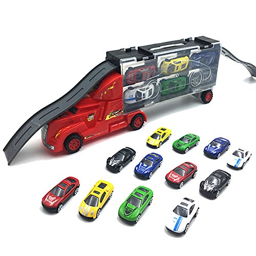 XADP 12 in 1 Toy Car Carrier Transporter With Track Slide- 15