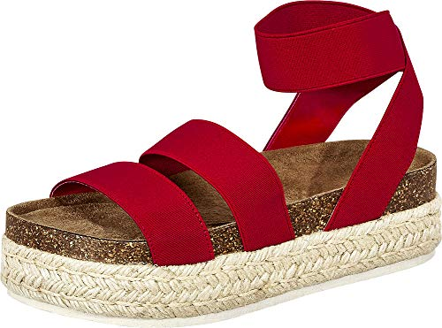 (Cambridge Select Women's Open Toe Stretch Strappy Chunky Espadrille Flatform Sandal,9 B(M) US,Red)