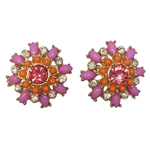 Multi Color Rhinestone & Resin Dot Flower Gold Tone Boutique Style Post Stud Earrings (Orange & Pink)