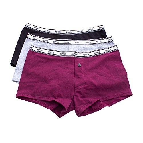 kensie Women's 3 Pack Boyshort Panties with Elastic Waistband Gemstone/Grey/Black - Boyshort Set Signature