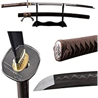 Espada Japonesa Samurai Katana Arcilla Templado Full Tang Hoja Real Afilada doblada 1095 Acero de Alto Carbono Palisandro Saya Puede Cortar bambú