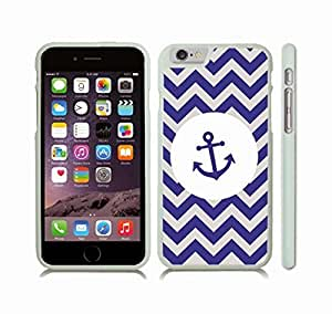 iStar Cases? iPhone 6 Case with Chevron Pattern Grey/Navy Blue Stripes, Blue Anchor on White , Snap-on Cover, Hard Carrying Case (White) by ruishername