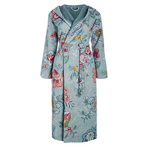 Pip Studio, accappatoio in spugna Berry Bird per la casa, vestaglia con cappuccio, con stampa floreale, 100% cotone, Blau, XXLarge Blau