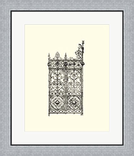 B&w Wrought Iron Gate (B&W Wrought Iron Gate V Framed Art Print Wall Picture, Flat Silver Frame, 23 x 27 inches)