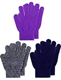 Kids Gloves Full Fingers Knitted Gloves Warm Mitten Winter Favor for Little Boys and Girls (Color Set 14, 1-4 Years Size, 3 Pairs)