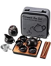Ceramic Mini Kungfu Tea Set,Travel Teapot with Tray Tea Infuser 4 Teacups, Porcelain Chinese Tea Pot Set All in One Gift Portable Bag for Home Business Hotel Picnic