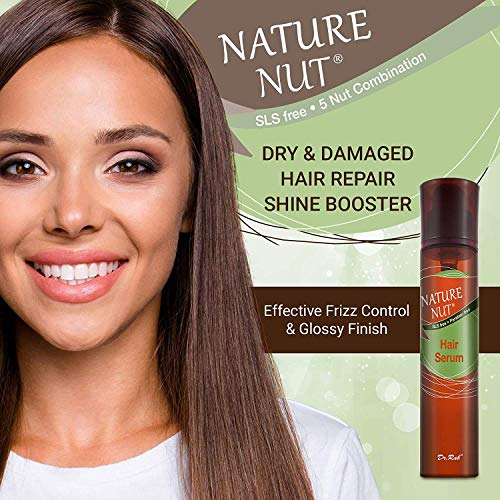Nature Nut Dry & Damaged Hair Repair Shampoo + Hair Mask + Hair Serum Moisturizer for Frizzy Hair. Hypoallergenic 5 Nut Natural Blend Hydrating Formula