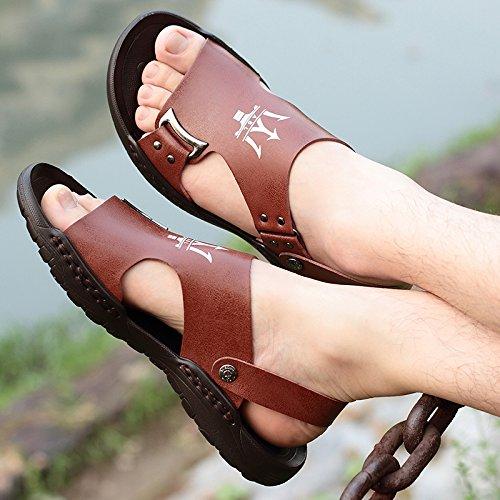 Xing Lin Sandalias De Mujer Los Hombres Sandalias De Playa En Verano, La Marea Masculino Zapatillas Tendencia Todos-Match Calzado Casual Sandalias brown