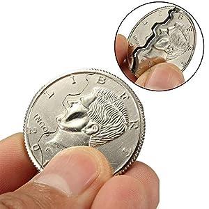 Connoworld Magic Street Trick Bitten Coin Disappear Magician Restored Half Dollar Illusion - Silver