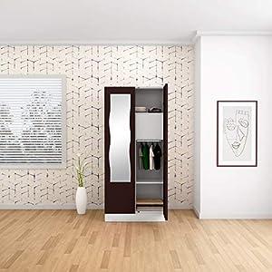GODREJ INTERIO Slimline 2 Door Steel Almirah with Locker, Mirror in Brown Russet, Glossy Finish