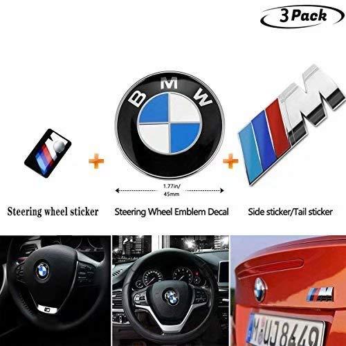 BMW Sticker Tri Color Emblem Car Decal Logo for 1 BMW M Rear Emblem + 1 BMW M Rear Sticker + 1 Steering Wheel Emblem (4 for ALL Models E30 E36 E34 E60 E65 E38 X3 X5 X6 3 4 5 6 7 8(Value 3-piece set) ()