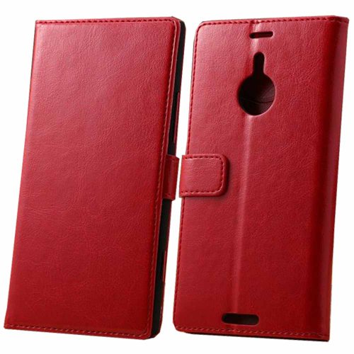 BESTSOOP Nokia Lumia 1520 Genuine Leather Case Slim Wallet Case with STAND Flip Phone Case Pouch Bumper Cover with 1 Stylus For Nokia 1520 Smartphone (Red)