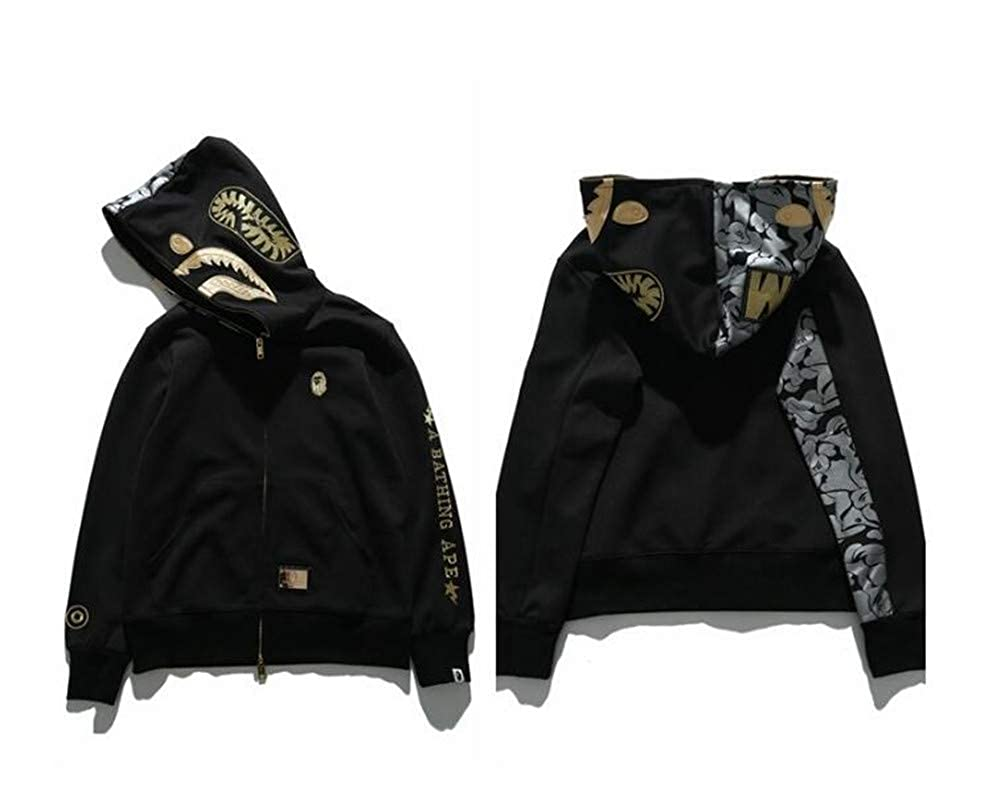 0f3ff412413c Fashion Bape Black Gold Embroidery Cotton Shark Hooded Sweater Casual Jacket  for Men Women at Amazon Men s Clothing store