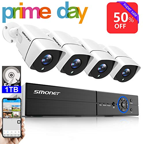 5MP Wired Security Camera Systems,SMONET 4CH Ultra HD 4K Output Video DVR Recorder,Home Security Camera System with 4pcs Indoor Outdoor Waterproof Security Cameras,Free App,1TB Hard Drive Included