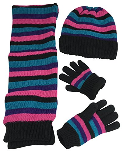 N'Ice Caps Girls Striped Knit Hat Scarf Touchscreen Glove 3PC Sherpa Lined Set (6-9 Years, ()