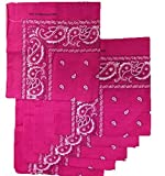 6 Color Pack Paisley Bandana Scarf, Head Wraps HOT PINK