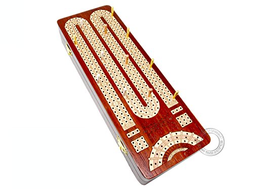House of Cribbage - Continuous Cribbage Board / Box inlaid in Bloodwood / Maple : 3 Tracks with Score marking fields for Skunks, Corners and Won Games ()