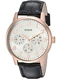 GUESS Men's Quartz Stainless Steel and Leather Casual Watch, Color:Black (Model: U0974G2)