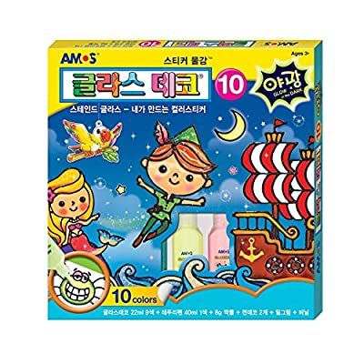AMOS Glass Deco Kits #10 (10colors Luminous) Make Stained Glass by Yourself Marbleized Painting: Toys & Games